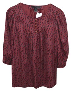 Marc by Marc Jacobs Cotton Silk Fall Winter Holiday Top Red/Blue