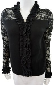 Anne Fontaine Ruffle Top Black