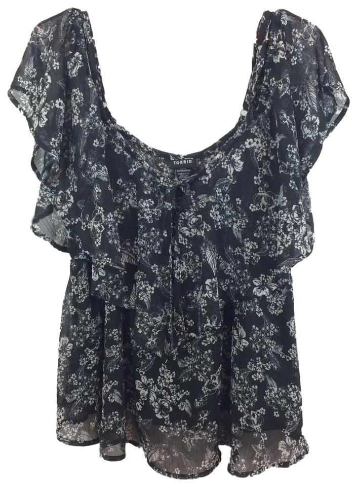 083d67e9b7d38 Torrid Black New Women s Black White Floral Off The Shoulder Blouse ...