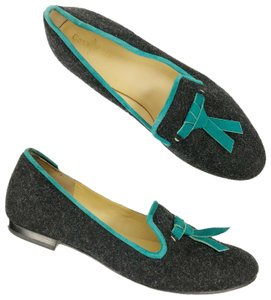 Cole Haan Preppy Padded Insole Smoking Classic Signature Black/Teal Flats