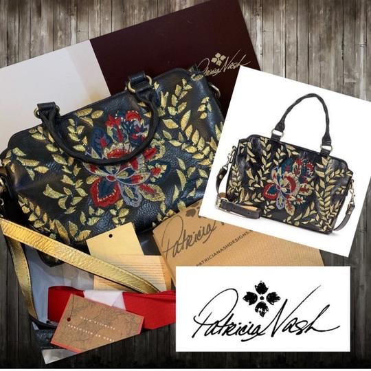 Patricia Nash Angelin Embroidered Leather Satchel ~ Black Matching Scarf