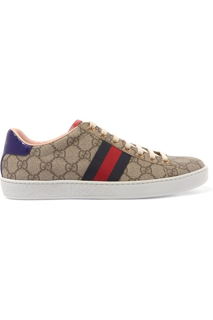 Item - Beige and Dark-brown Ace Gg Supreme Logo-print Coated-canvas Sneakers Size EU 35 (Approx. US 5) Regular (M, B)