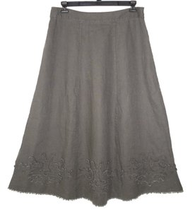 Soft Surroundings Linen Fringe A-line Maxi Skirt Gray