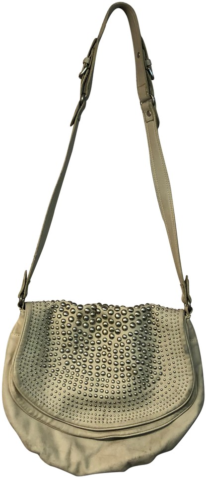 ce3b8e37 Zara Studded Dual Flap Creme Leather Shoulder Bag - Tradesy