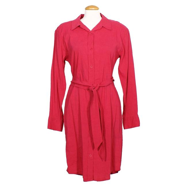 Item - Rhubarb Pink Stretch Viscose Linen Belted Short Casual Dress Size 6 (S)