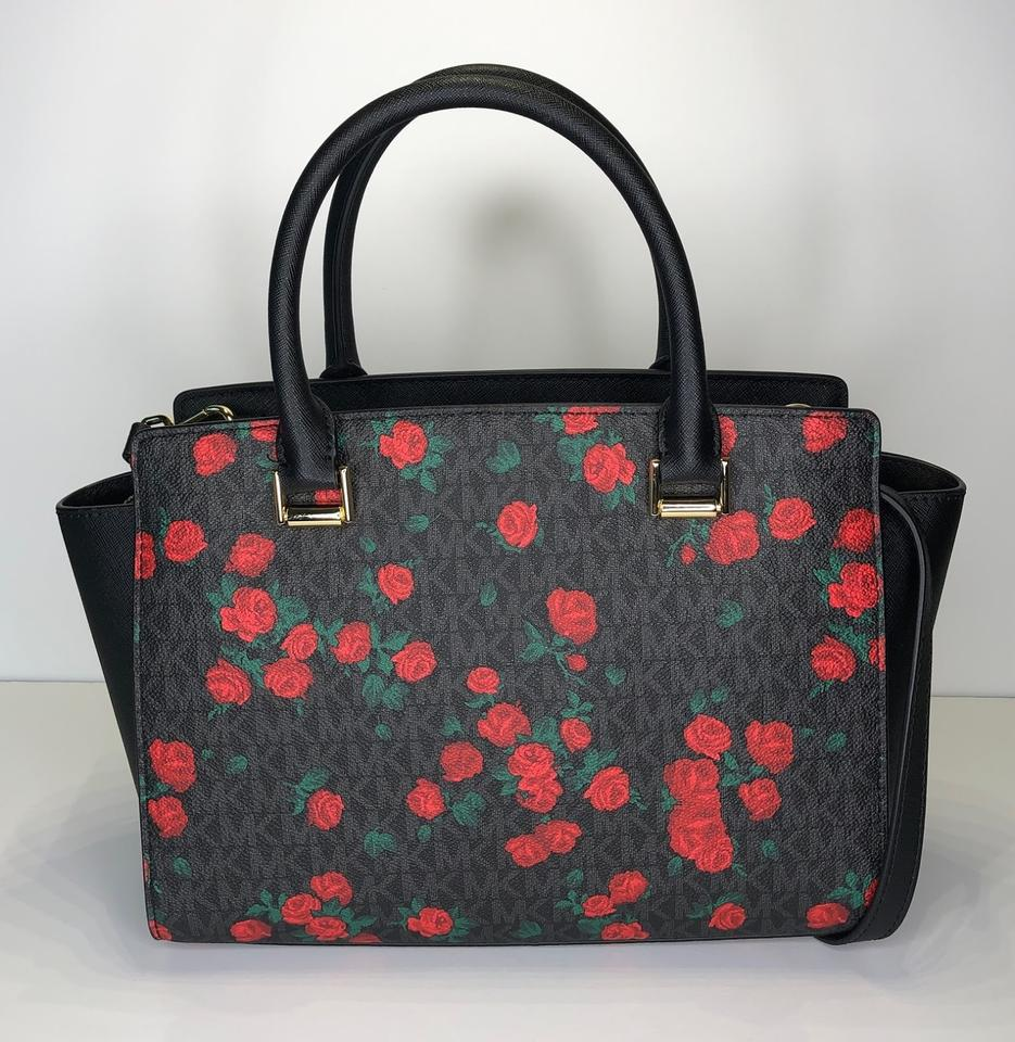 fe70897c6d0c7d Michael Kors Matching Set Matching Wallet Floral Satchel in Signature MK  Black/Red Roses Image. 1234567891011