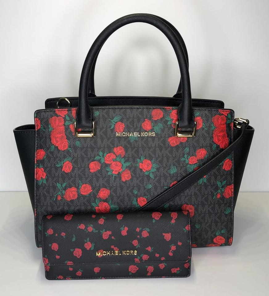 eb4e074a24e9 Michael Kors Selma Md and Flat Wallet Set Signature Mk Black/Red Roses Leather  Satchel - Tradesy