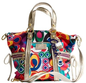 Coach New With Tags Poppy Pop C Gift Idea Shoulder Tote in Bright Multicolor/White/Gold
