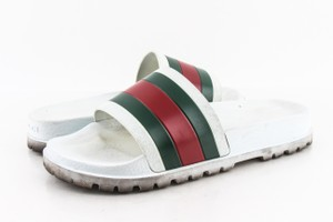 Gucci White Web Slide Sandal Shoes