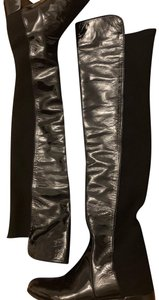 Stuart Weitzman Over The Knee 50/50 Fifo Patent Leather Black Boots