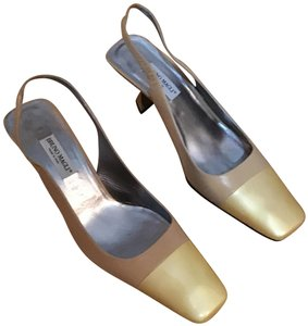 Bruno Magli Made In Italy Leather Nwob Stylish Sling Back Multi-Color (Cream/Beige) Pumps