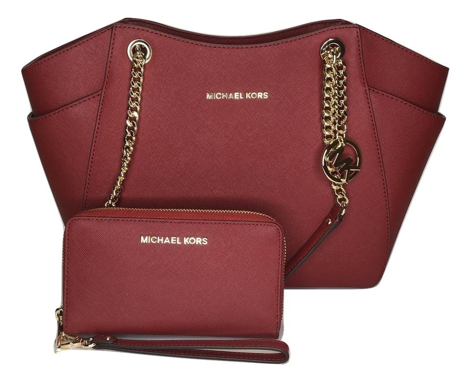 f8e1ae6aeb4c Michael Kors Matching Set Matching Wallet Brown Signature Monogram Shoulder  Bag Image 0 ...