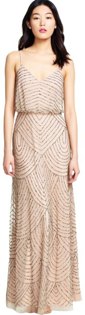 Item - Taupe/Pink Art Deco Beaded Blouson Gown Long Formal Dress Size 10 (M)