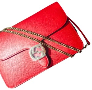 f3ba6fe768ae Added to Shopping Bag. Gucci Cross Body Bag. Gucci Marmont Gg Interlocking  Red Calfskin Leather ...