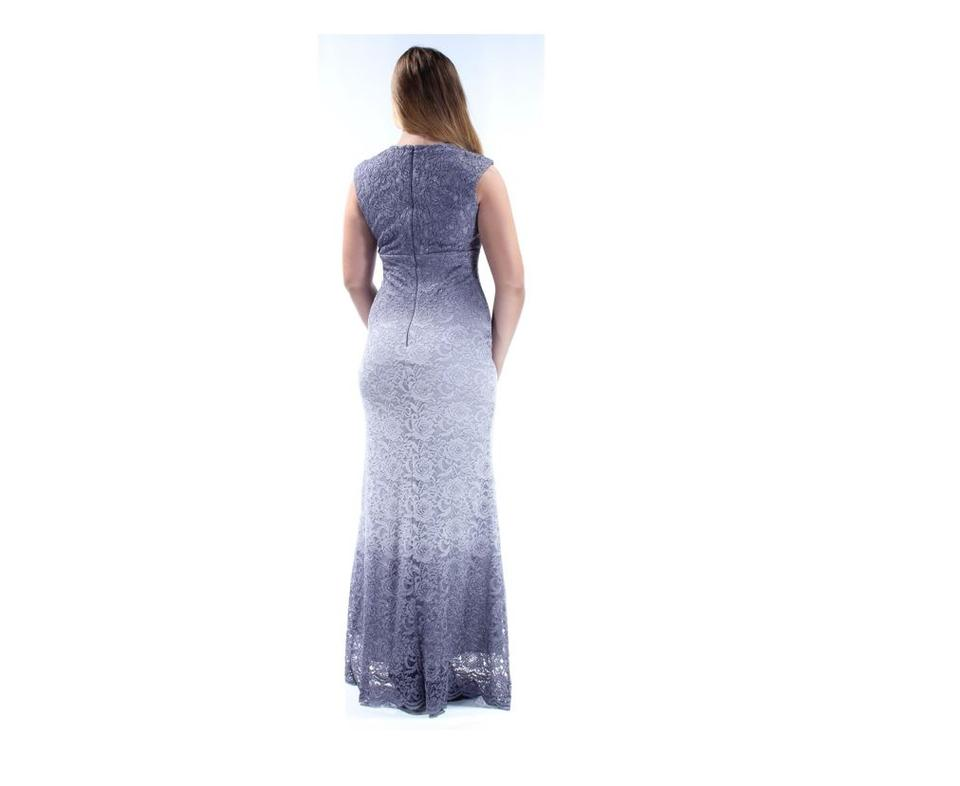 dc7a12f537f Betsy   Adam Silver Ombre Glitter Lace Gown Long Cocktail Dress Size ...