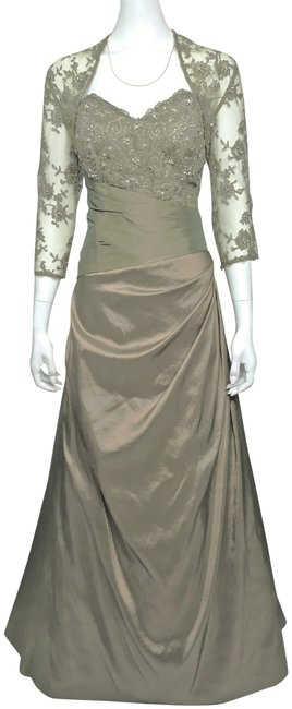 Item - Iridescent Olive/Gold Hand Beaded Swarovski Crystal Lace Bolero + Strapless Ball Gown Long Formal Dress Size 12 (L)
