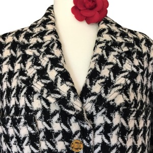 Chanel And CHANEL BLACK & WHITE HOUNDSTOOTH JACKET-COAT Jacket