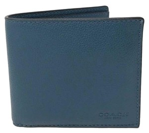 Coach Coach Men's Billfold Double Fold Calf Leather Mineral Blue Wallet