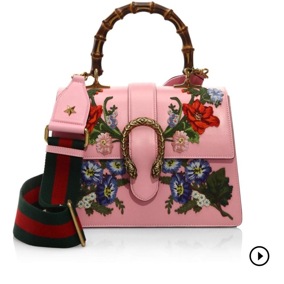 2dfb8e51f3 Gucci Dionysus Small Embroidered Floral Satchel Pink Leather Cross Body Bag