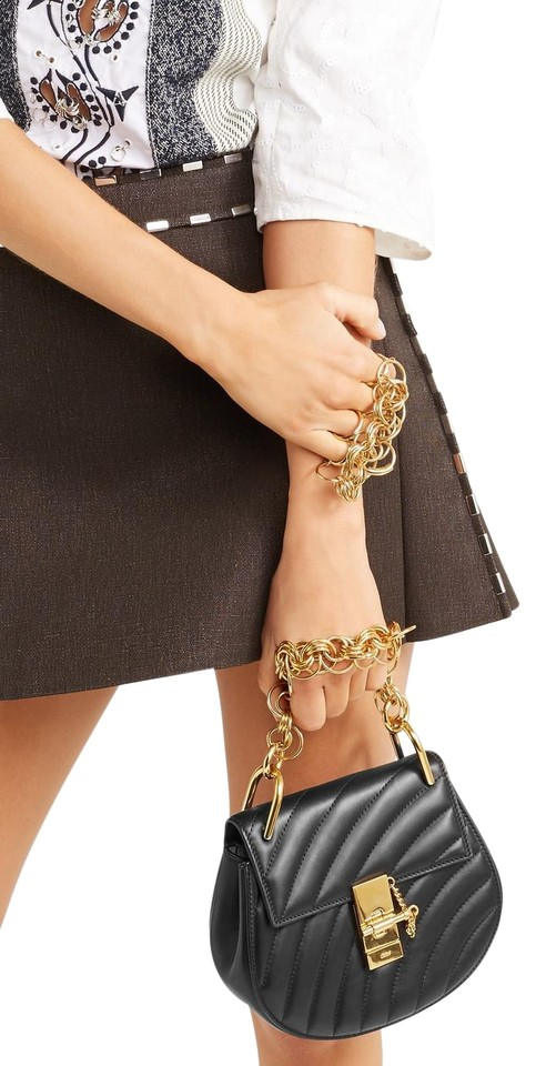 a404db0e7a Chloé Crossbody Drew Bijou Small Black Quilted Leather Wristlet 36% off  retail