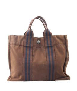 Hermès Canvas Silver-tone Musty Tote in Brown