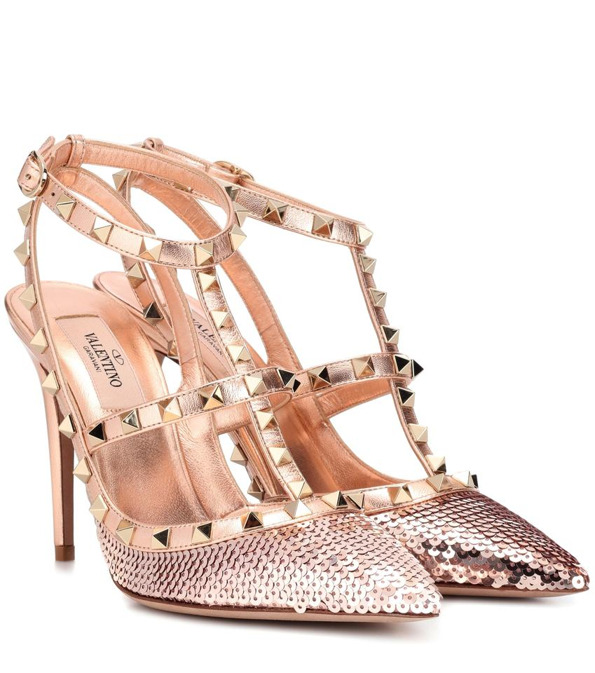 745b5ff95a40 Valentino Rockstud Metallic Sequined Ankle Strap Rose Gold Pumps Image 4.  12345
