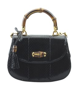 Gucci Python Pre-owned Gold-tone Satchel in Black
