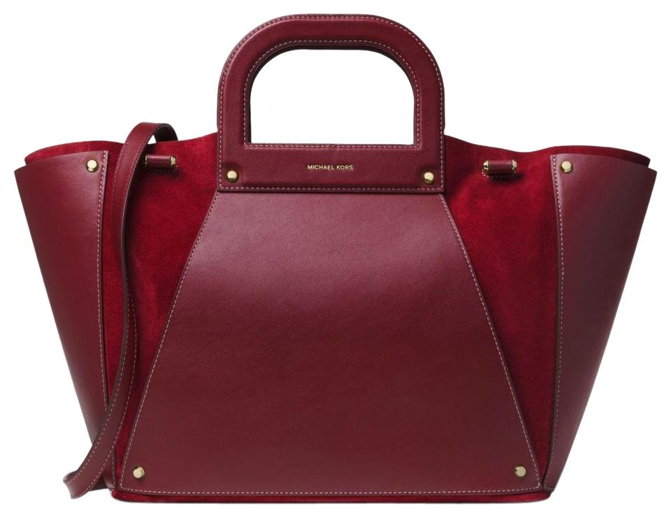 780287fd7844 Michael Kors Leather/Suede Maroon/Oxblod 30f8g1ct4s Tote in Maroon/Oxblod  Image 0 ...