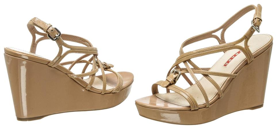 9cd91a282 Prada Nude Patent Leather Sandals 487126 Wedges. Size  EU 37.5 (Approx. US  7.5) Regular ...