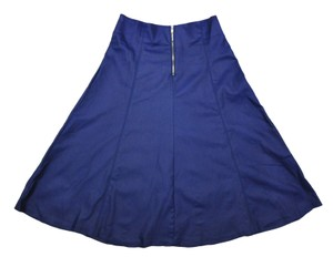 Potter's Pot A-line Pleated Leather Skirt Blue