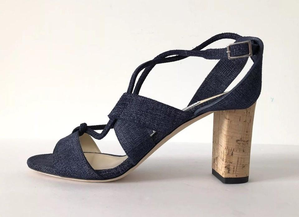 3e3ab4b0ce7 Jimmy Choo Denim Blue Margo 80mm Cork Heel Lace-up Open Sandals Size ...