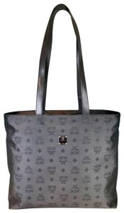 MCM Visetos Nylon Tote in Gray