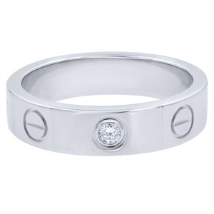 Cartier Cartier Mini Love 1 Diamond 18k WGold 4mm Band Ring Size 3.5