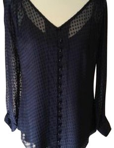 Shoshanna Sheer Winter Polka Dot Party Longsleeve Top Black Navy