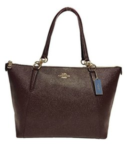Coach Glitter Leather Tote in Oxblood