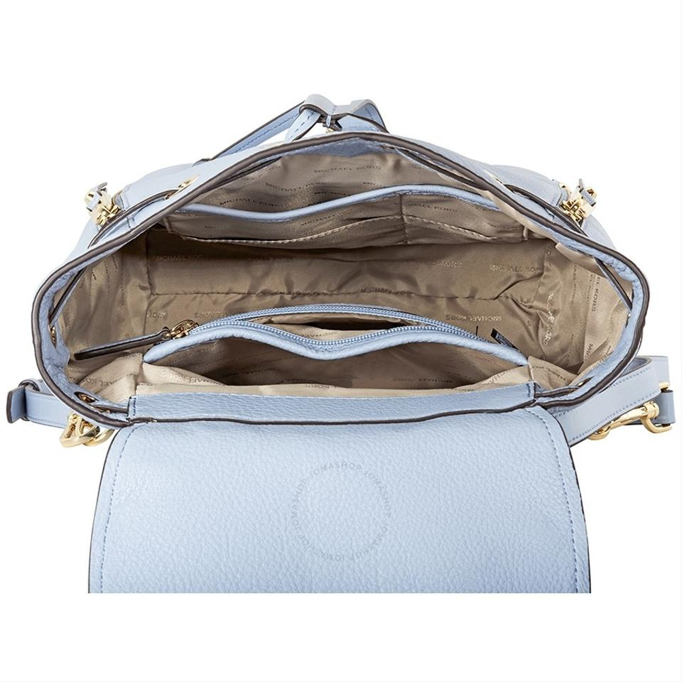 2843dd30a7a7 Michael Kors Evie Floral Small Pale Blue Leather Backpack - Tradesy