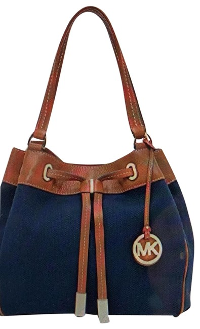 Item - Marina Large Drawstring Tote Navy Canvas Shoulder Bag