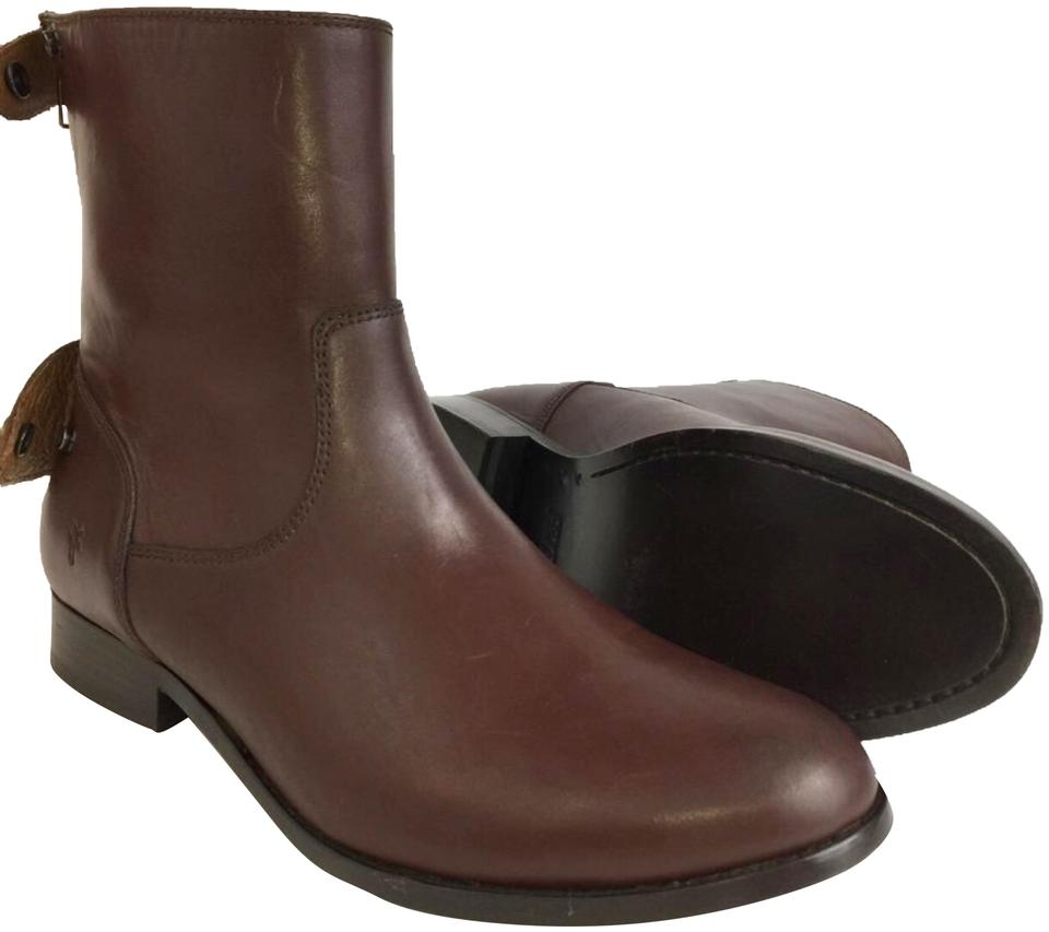 fe10e762a08 Frye Brown Redwood New Women s Melissa Button Back Zip Ankle Riding Boots  Booties