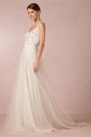 BHLDN Ivory Elsa Theia 890046 Vintage Wedding Dress Size 12 (L) Image 2