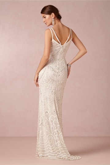 BHLDN Ivory Elsa Theia 890046 Vintage Wedding Dress Size 12 (L) Image 4