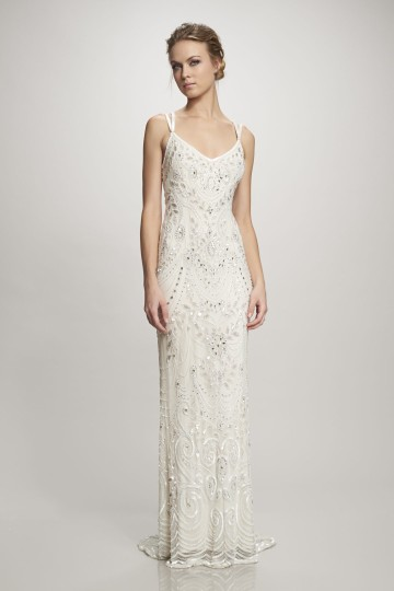 BHLDN Ivory Elsa Theia 890046 Vintage Wedding Dress Size 12 (L) Image 5