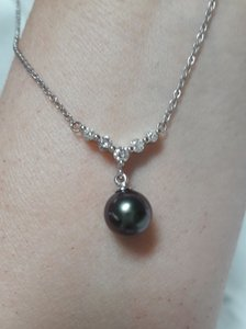Blue Nile Tahitian Cultured Pearl and Diamond Necklace in 18k White Gold (8mm)