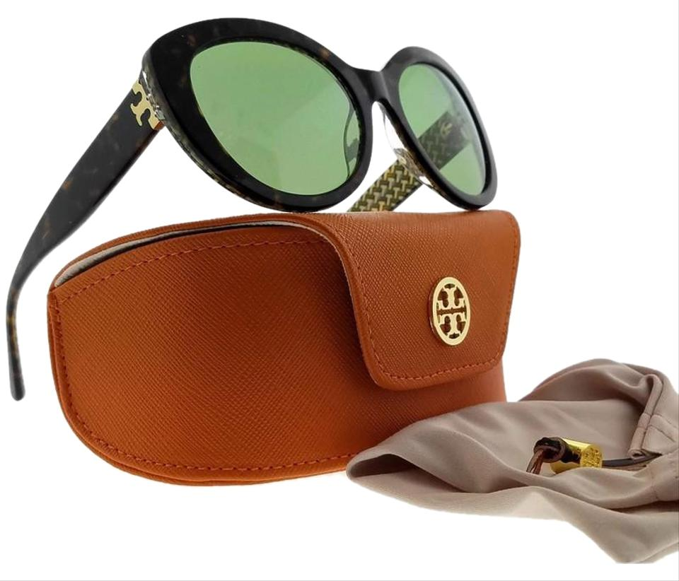 9ace12cc4980 Tory Burch TY7121-17342-55 Cat Eye Women's Tortoise Frame Green Lens  Sunglasses Image ...
