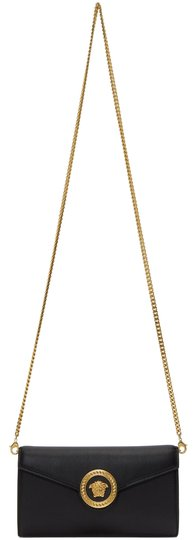 Medusa Wallet Chain Black And Gold Leather Cross Body Bag by Versace