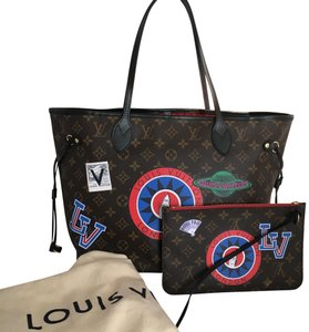 Louis Vuitton Neverfull Mm Limited Edition World Tour Tote in Brown Red