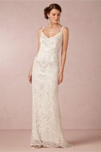 BHLDN Ivory Elsa Theia 890046 Vintage Wedding Dress Size 14 (L)