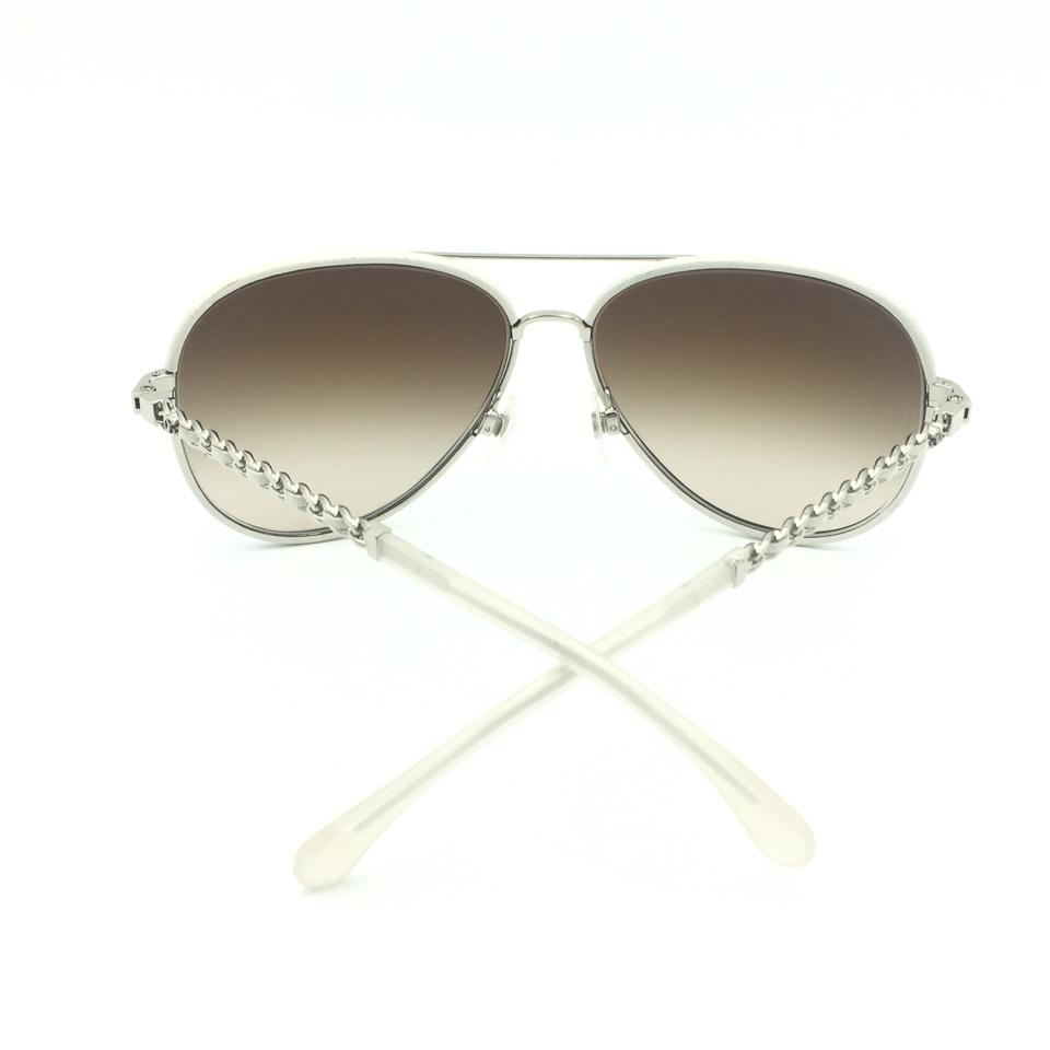 3937c742de Chanel Leather White Silver Chain Aviator Brown Gradient 4219-q Sunglasses