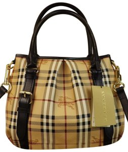 Burberry Check Handbag Gold Black Tote In Beige