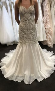 Sottero and Midgley Ivory Over Light Gold W/Pewter Accents Organza Kaya Formal Wedding Dress Size 10 (M)