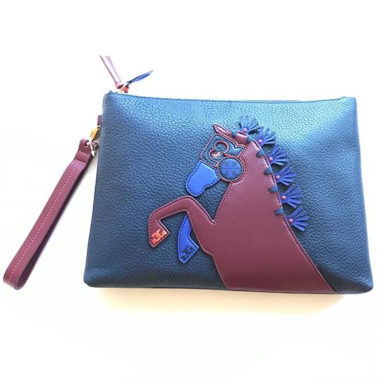 Tory Burch Horse Logo Wristlet in Blue Image 1
